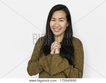Asian Woman Wishing Cheerful Concept
