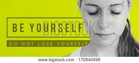 Be yourself overlay word young people