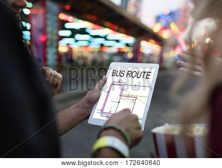 Hands Hold Tablet Map Route Graphic