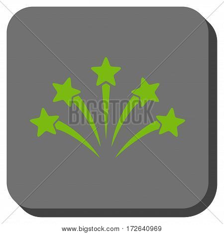Fireworks Burst rounded icon. Vector pictogram style is a flat symbol in a rounded square button light green and gray colors.
