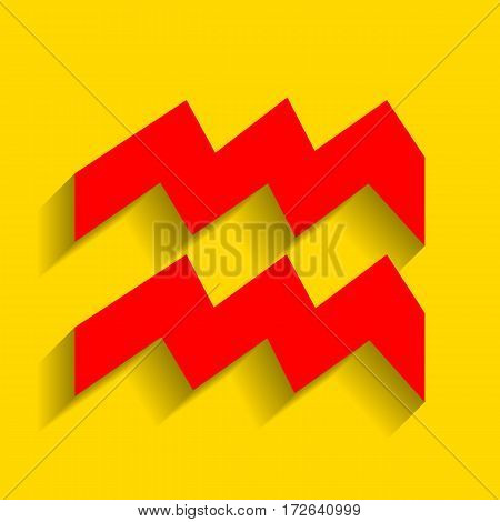 Aquarius sign illustration. Vector. Red icon with soft shadow on golden background.