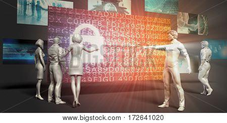 Online Encryption Concept with Virtual Presentation Background 3D Illustration Render