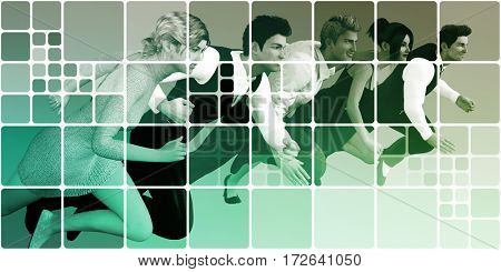 Business People Running as a Abstract Website Background  3D Illustration Render