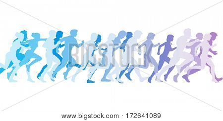 Men and Women Running in a Competition 3D Illustration Render