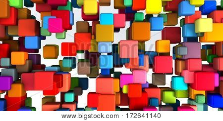 Colorful Geometric Abstract Background as Fun Theme 3D Illustration Render