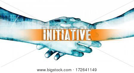 Initiative Concept with Businessmen Handshake on White Background 3D Illustration Render