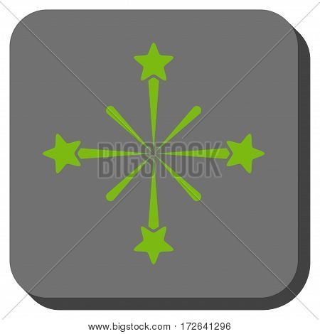 Fireworks square button. Vector pictogram style is a flat symbol centered in a rounded square button light green and gray colors.