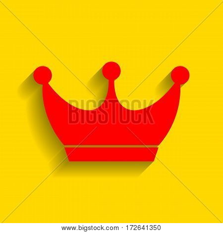 King crown sign. Vector. Red icon with soft shadow on golden background.