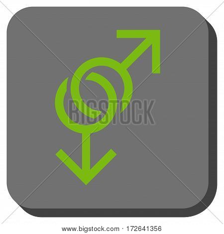 Gay Love Symbol interface toolbar icon. Vector pictograph style is a flat symbol in a rounded square button light green and gray colors.