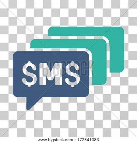 SMS Messages icon. Vector illustration style is flat iconic bicolor symbol cobalt and cyan colors transparent background. Designed for web and software interfaces.