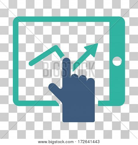 Tap Trend On PDA icon. Vector illustration style is flat iconic bicolor symbol cobalt and cyan colors transparent background. Designed for web and software interfaces.