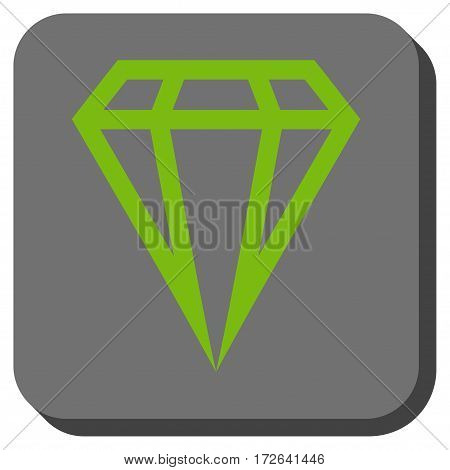 Gem interface icon. Vector pictogram style is a flat symbol on a rounded square button light green and gray colors.