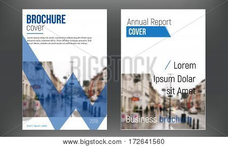 Blue set cover business brochure vector designs, Leaflet advertising abstract backgrounds. Modern poster flyer magazine layout template. Annual report for presentation with blured city.