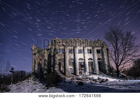 The ruins of the old Church in the village, the Fifth mountain, Leningrad oblast, Russia