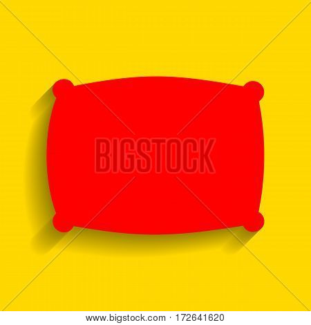 Pillow sign illustration. Vector. Red icon with soft shadow on golden background.