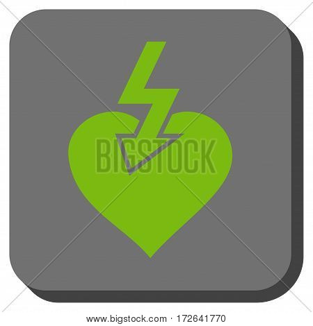 Heart Shock Strike square icon. Vector pictogram style is a flat symbol centered in a rounded square button light green and gray colors.