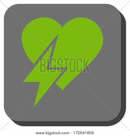 Heart Shock square button. Vector pictogram style is a flat symbol on a rounded square button light green and gray colors.