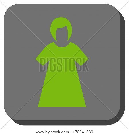 Lady Figure interface icon. Vector pictogram style is a flat symbol on a rounded square button light green and gray colors.
