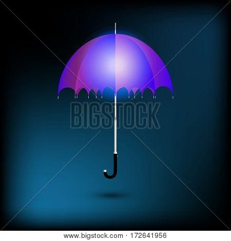 open blue umbrella under rain light night