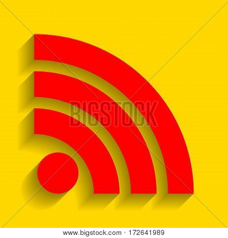 RSS sign illustration. Vector. Red icon with soft shadow on golden background.