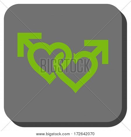 Linked Gay Hearts interface icon. Vector pictograph style is a flat symbol in a rounded square button light green and gray colors.