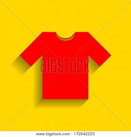 T-shirt sign illustration. Vector. Red icon with soft shadow on golden background.