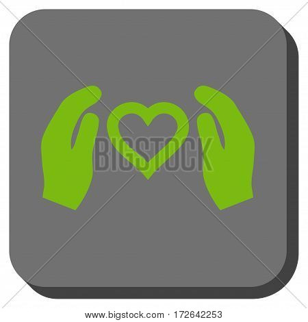 Love Care Hands square button. Vector pictogram style is a flat symbol in a rounded square button light green and gray colors.
