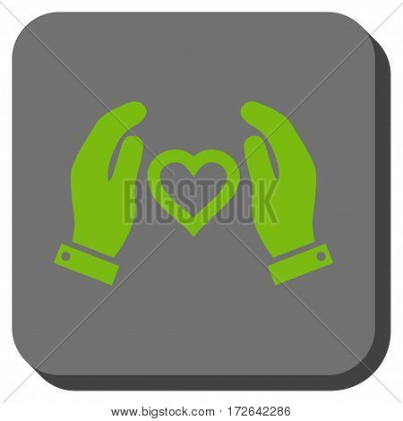 Love Care Hands interface toolbar icon. Vector pictogram style is a flat symbol inside a rounded square button light green and gray colors.
