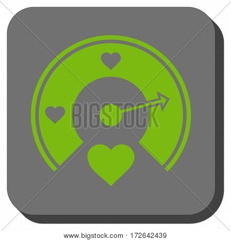Love Gauge toolbar icon. Vector pictogram style is a flat symbol in a rounded square button light green and gray colors.