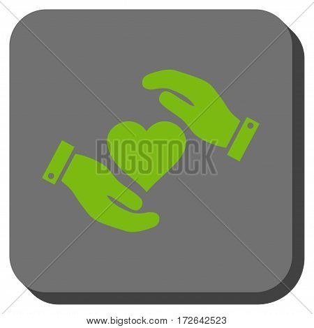 Love Heart Care Hands interface toolbar button. Vector pictogram style is a flat symbol on a rounded square button light green and gray colors.