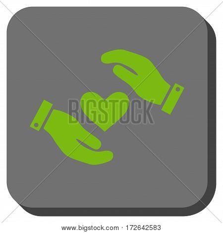 Love Heart Care Hands interface toolbar icon. Vector pictogram style is a flat symbol centered in a rounded square button light green and gray colors.