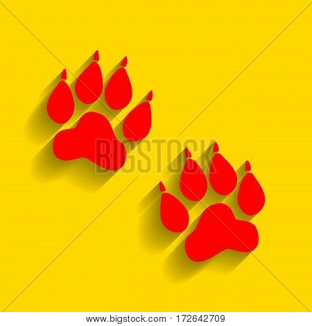 Animal Tracks sign. Vector. Red icon with soft shadow on golden background.