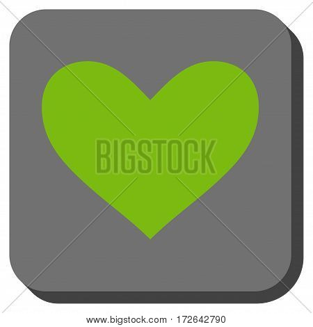 Love Heart interface button. Vector pictogram style is a flat symbol in a rounded square button light green and gray colors.