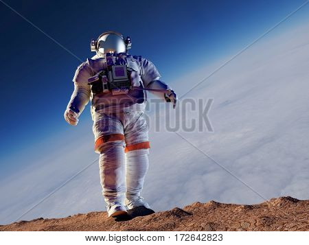 Astronaut e walking on the planet.,3d render