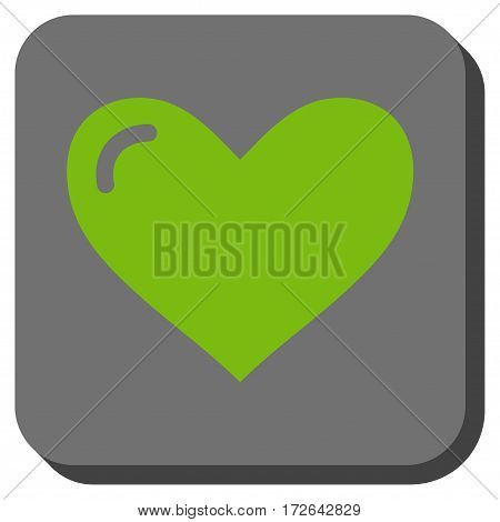 Love Heart toolbar button. Vector pictograph style is a flat symbol in a rounded square button light green and gray colors.