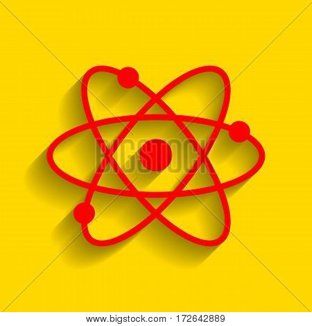Atom sign illustration. Vector. Red icon with soft shadow on golden background.