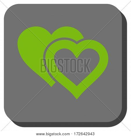 Love Hearts rounded icon. Vector pictograph style is a flat symbol on a rounded square button light green and gray colors.