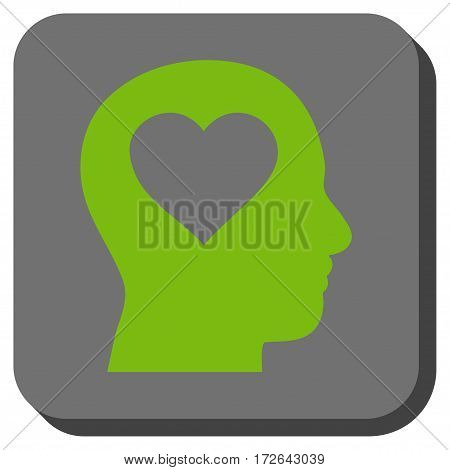 Love In Head toolbar icon. Vector pictogram style is a flat symbol inside a rounded square button light green and gray colors.