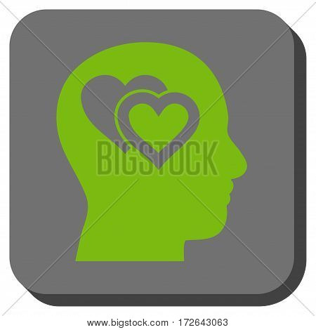 Love In Mind interface button. Vector pictogram style is a flat symbol inside a rounded square button light green and gray colors.
