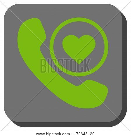 Love Phone Call interface button. Vector pictogram style is a flat symbol in a rounded square button light green and gray colors.