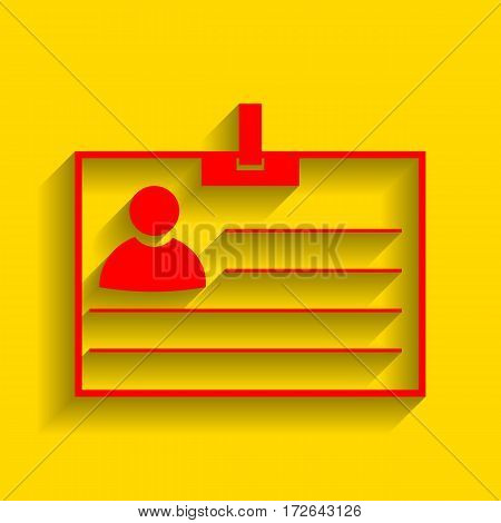 Id card sign. Vector. Red icon with soft shadow on golden background.