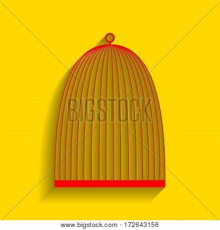 Bird cage sign. Vector. Red icon with soft shadow on golden background.