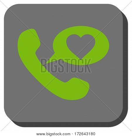 Love Phone Message toolbar icon. Vector pictogram style is a flat symbol on a rounded square button light green and gray colors.