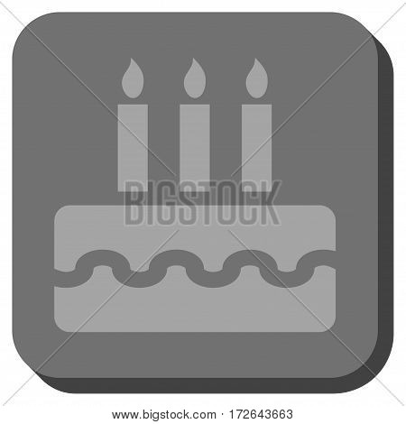 Birthday Cake interface toolbar button. Vector pictograph style is a flat symbol in a rounded square button light gray and gray colors.