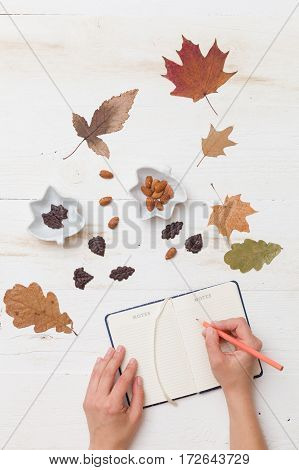 Top view on woman's hands writing in notebook. Autumn background: leaves chocolate nuts on wooden white board.