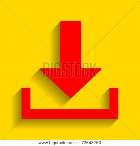 Download sign illustration. Vector. Red icon with soft shadow on golden background.