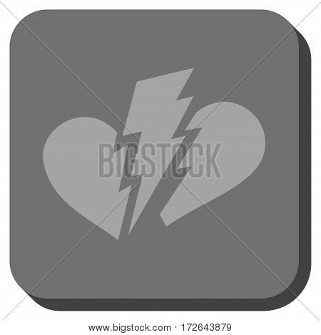 Broken Heart square icon. Vector pictogram style is a flat symbol in a rounded square button light gray and gray colors.