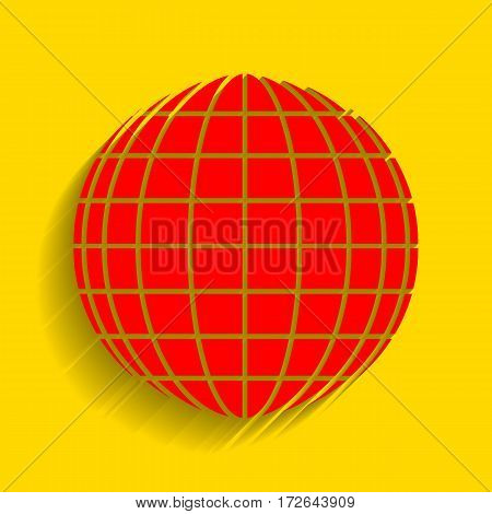 Earth Globe sign. Vector. Red icon with soft shadow on golden background.