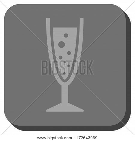 Champagne Glass interface icon. Vector pictograph style is a flat symbol inside a rounded square button light gray and gray colors.
