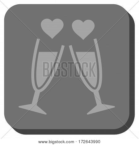 Clink Glasses square button. Vector pictograph style is a flat symbol centered in a rounded square button light gray and gray colors.